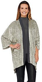 As Is LOGO by Lori Goldstein Burnout Open Front Cardigan with Chiffon