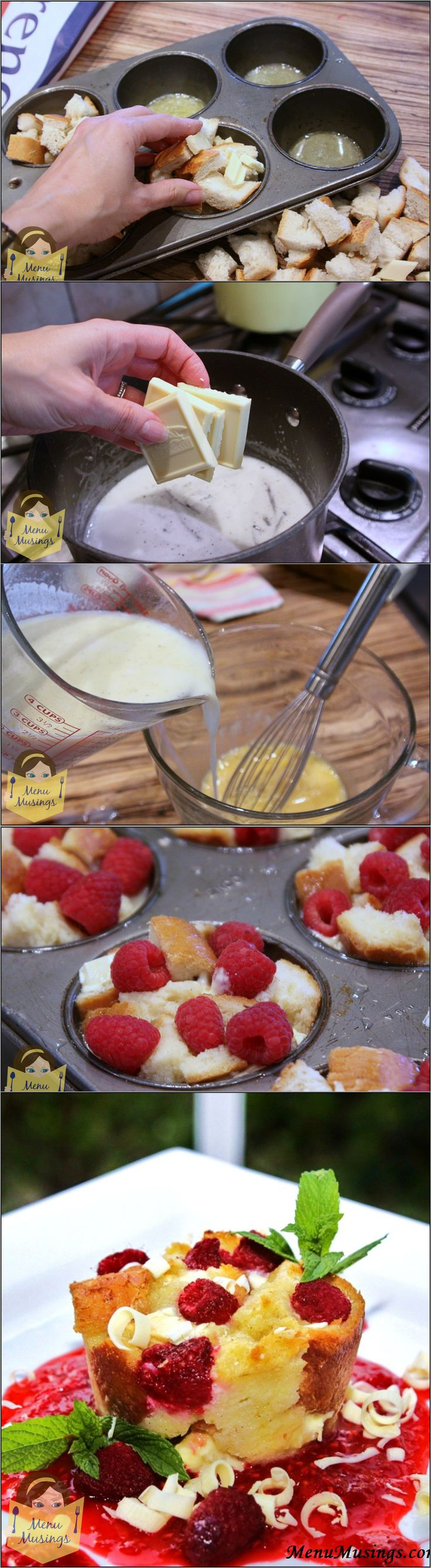Individual White Chocolate and Raspberry Bread Puddings -  take the basic bread pudding concept and kick it up a couple of notches with the addition of creamy white chocolate and fresh, juicy raspberries... an amazing combination.  And you have built in portion control!  <3  Step-by-step photos.