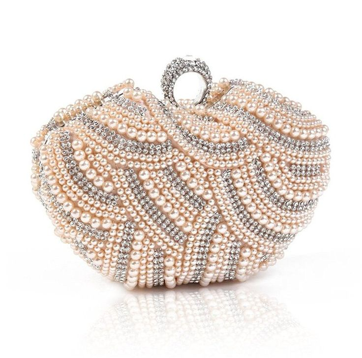 Damara Womens Luxury Special Crystals Beaded Pearl Clutch Bag,Champagne *  Find out @