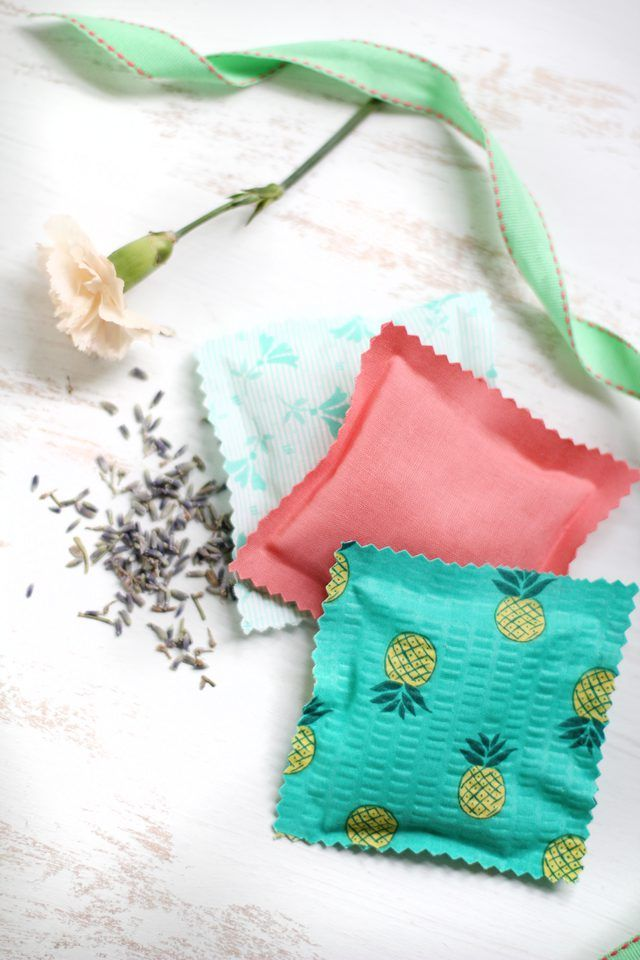 Filled with rice and scented with oil, these no-sew sachets add a subtle but lovely perfume to your drawers, cupboards and closets.