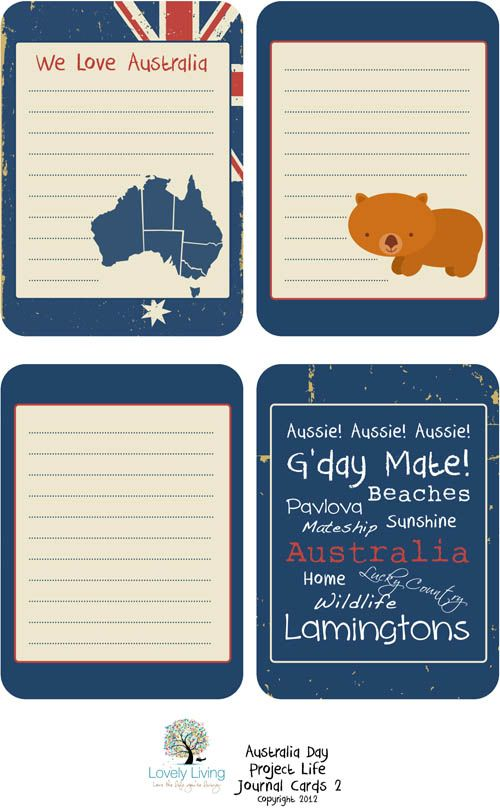 Love these Australia Day 2012 Project Life Journaling Card Printables - Lovely Living - Love The Life You're Living