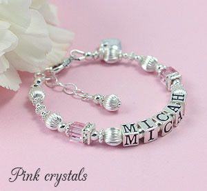 Child S Name Bracelet With Pink Cube Crystals Jewelry Accessories Pinterest Bracelets And Baby