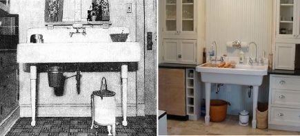 Vintage kitchen sinks like this 2 leg fireclay console for 1920s style kitchen cabinets