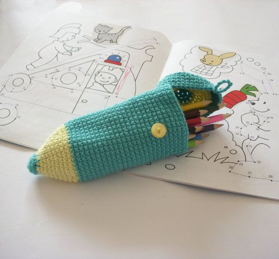 Pencil Holder Crocheted Pencil Case for Kids by DuduToyFactory