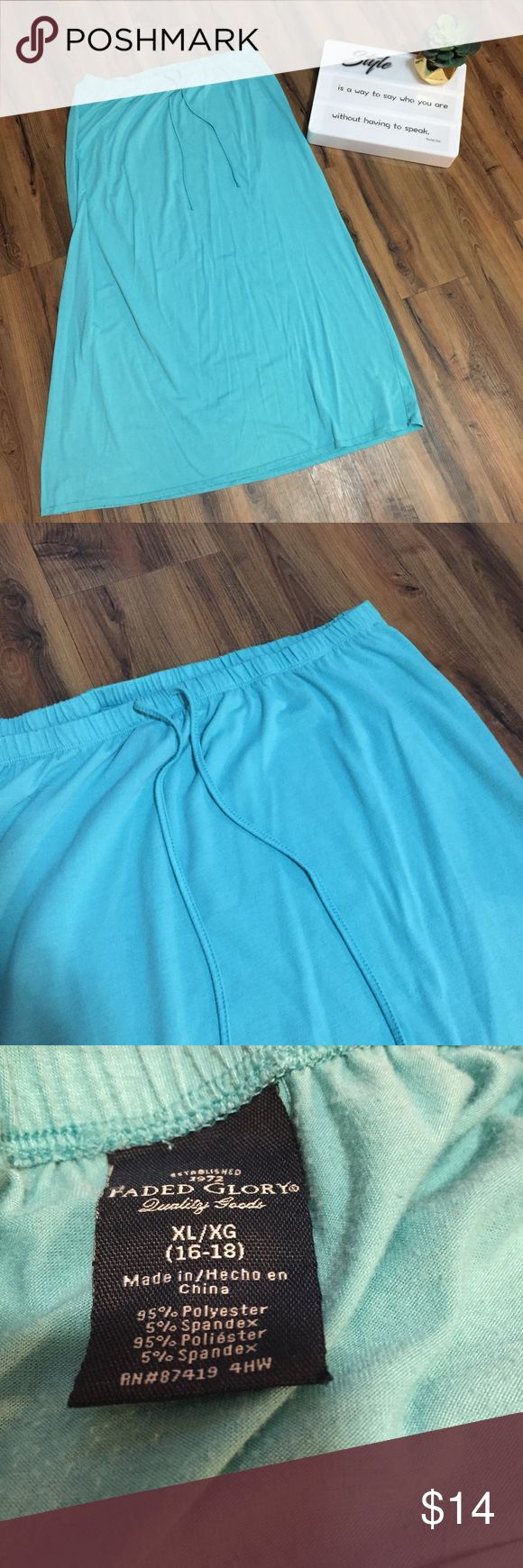 Blue Maxi Skirt - #069 Faded Glory. Size XL 16/18. Basic blue/turquoise maxi skirt. Full length. The elastic waistband measures approximately 16 inches when laid flat. The full length of the skirt is approximately 37 inches.  Listed 11-7-17 Faded Glory Skirts Maxi