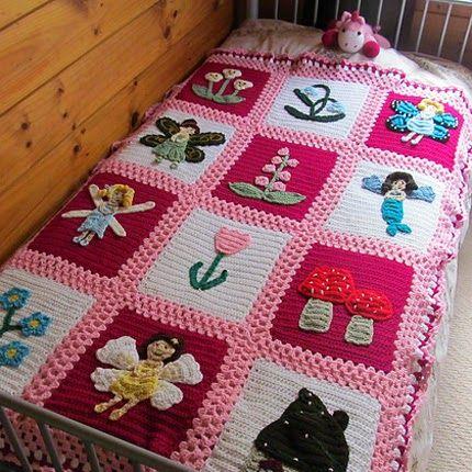 Fairy Garden Blanket - Free Pattern for blanket..appliqués sold separately!