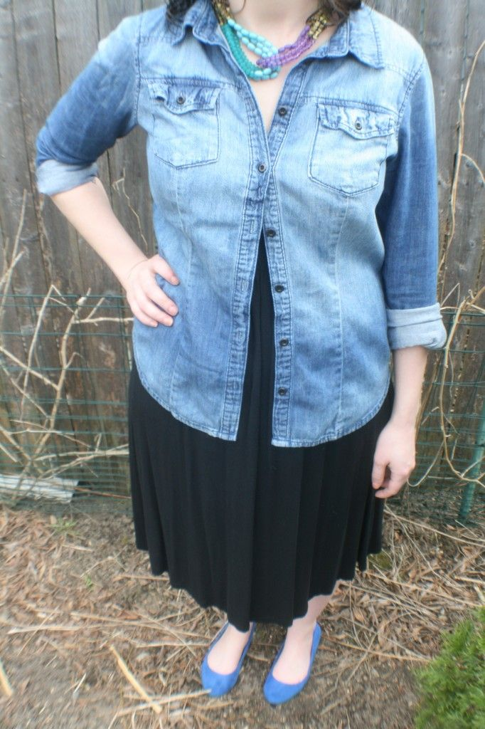 @iwannawearthat demonstrates the versatility of the jean shirt by pairing it with a Little Black Dress
