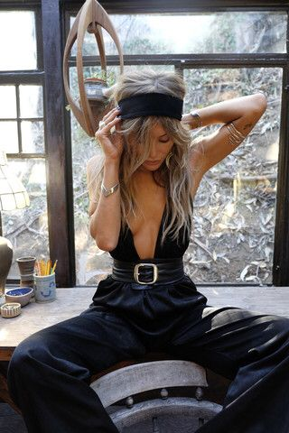 A wicked wide leg low plunge jumpsuit, with buckle belt - Rat and Boa
