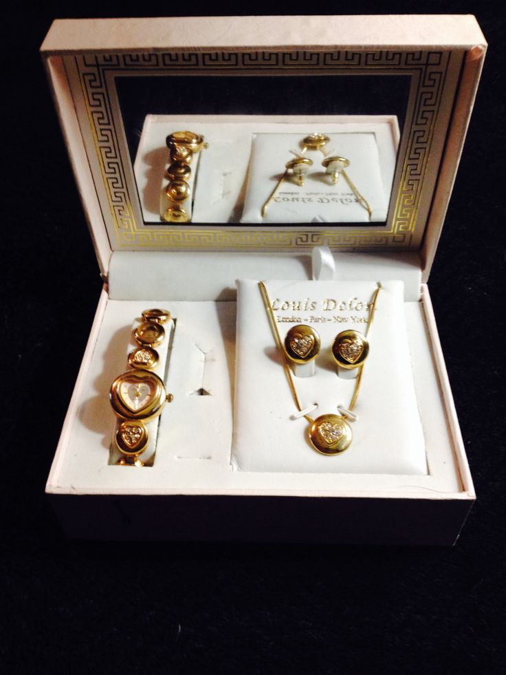 Vintage Louis Delon designer set with Watch, Necklace and Earrings by PastFunk on Etsy