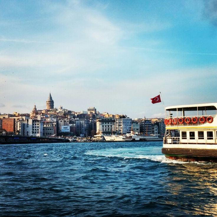 Galata Tower, sea, boats and Turkish flag ⭐☀