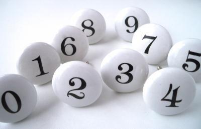 Bouton de meuble et poign�e de meuble pour porte et tiroir, pat�res, blanc, rond, nombres