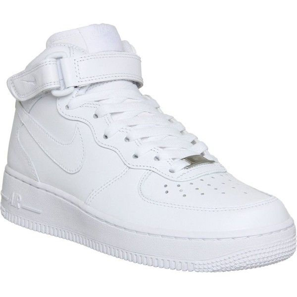 1bb941a567 NIKE Air Force 1 mid-top trainers ($97) ❤ liked on Polyvore featuring shoes,  sneakers, nike, trainers, white white, lace up sneake…