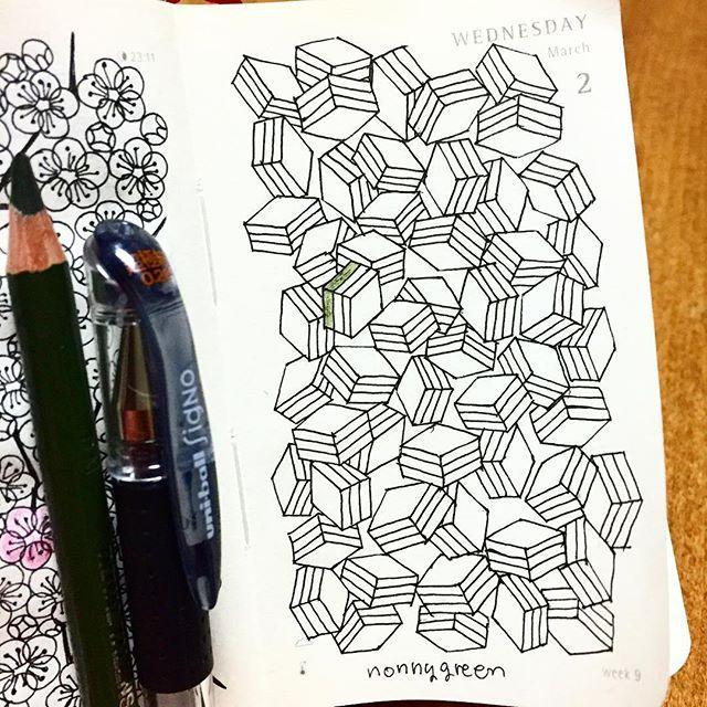 菱餅/Diamond-shaped rice cake  #ゼンタングル #イラスト #モレスキン #zentangle #zendoodle #doodle #doodles #drawing #illustration #pattern #art #design #signo #moleskine #journal #diary #菱餅 #ひし餅 #ひな祭り#hishimochi #hinafestival