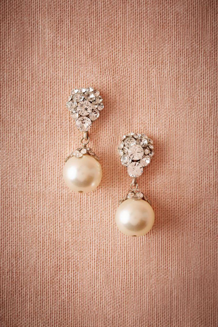 BHLDN Blushing Pearl Drop Earrings in  Bride Bridal Jewelry Earrings at BHLDN
