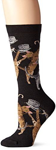 Ozone Women's Cat Conga Sock, Black, 9-11