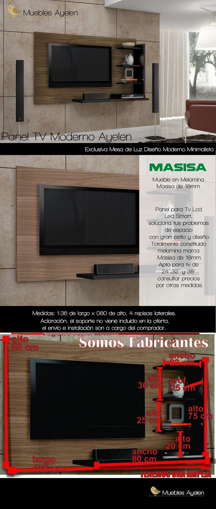 Nuevo Panel,tv  Rak Repisa Dvd.. Panel Moderno...... - $ 1.450,00