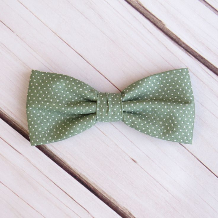 Sage Green Bow tie Polka Dot Spot Pre tied Wedding Bowtie Pocket Square Men Boy Baby Toddler Children Bow tie for Groom Groomsmen by GloiberryBowtie on Etsy https://www.etsy.com/uk/listing/490132185/sage-green-bow-tie-polka-dot-spot-pre