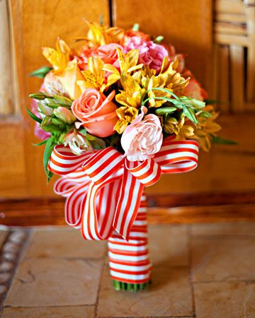 Brighten up a tropical bouquet with vibrant ribbon in a bold pattern