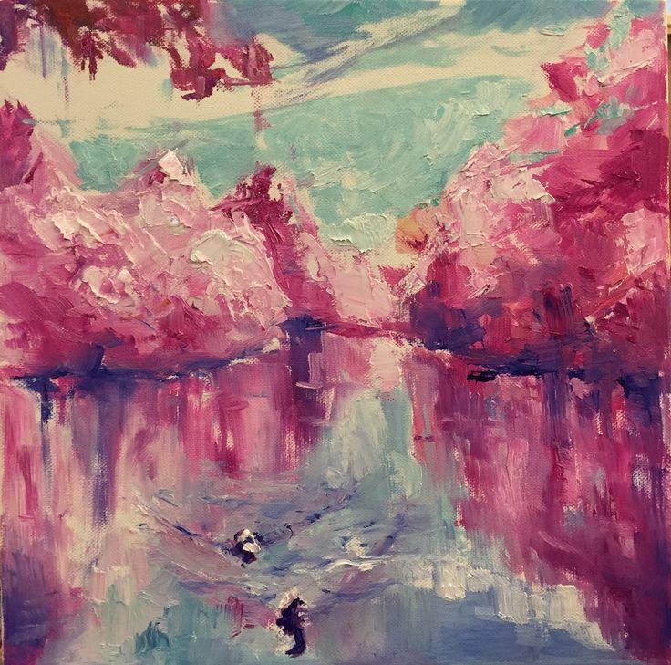 Lake, oil & canvas, art, painting