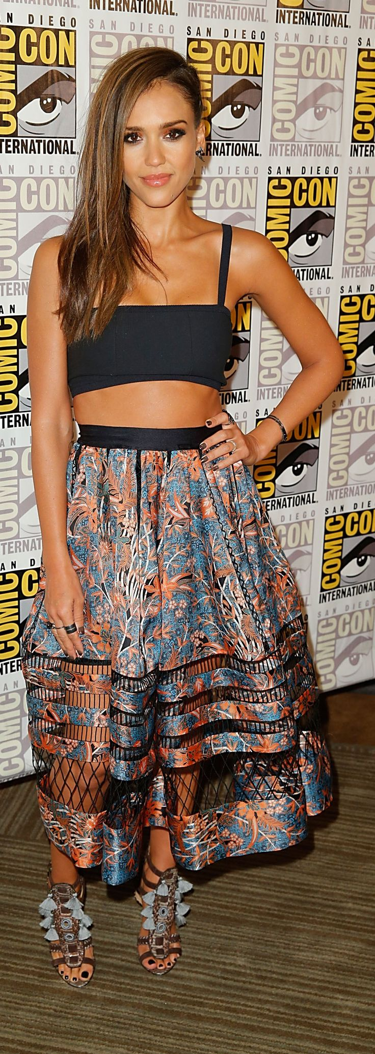 Jessica Alba in Zimmerman at Comic-Con. cropped Tanya Taylor bandeau top and flowing cutout Zimmerman skirt