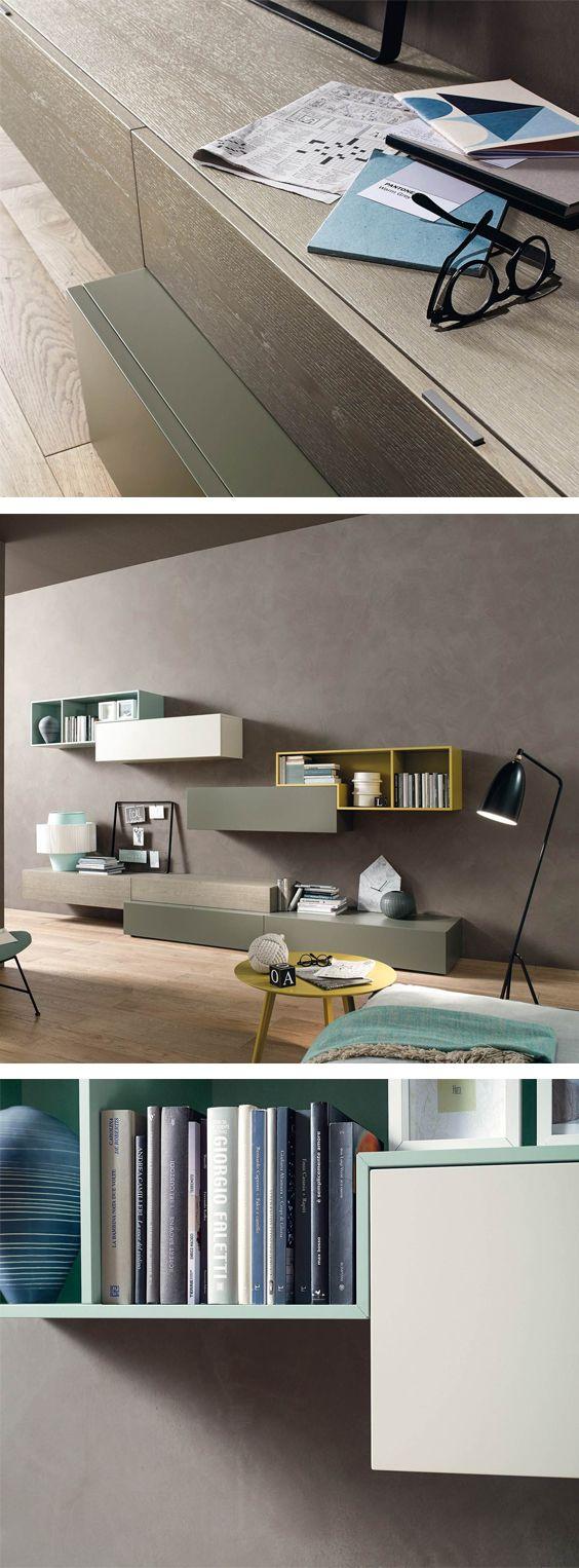 Frischen Schwung Mit Fröhlicher Farbe Bringt Die Wohnwand C20 In Ihr  Wohnzimmer, Die Versetzte Anordnung