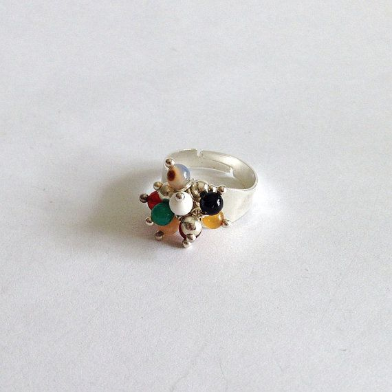 Multicolor agate ring adjustable ring by LaPietraBluDiAvalon