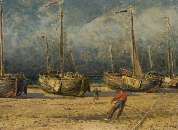 Kutry rybackie przy brzegu morza - Aleksander Gierymski