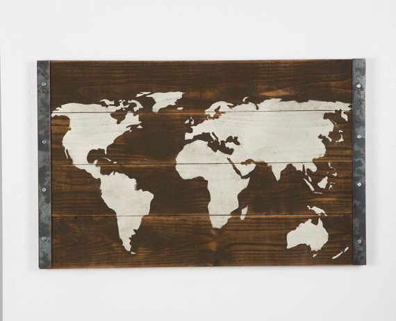 Industrial Reclaimed World Map