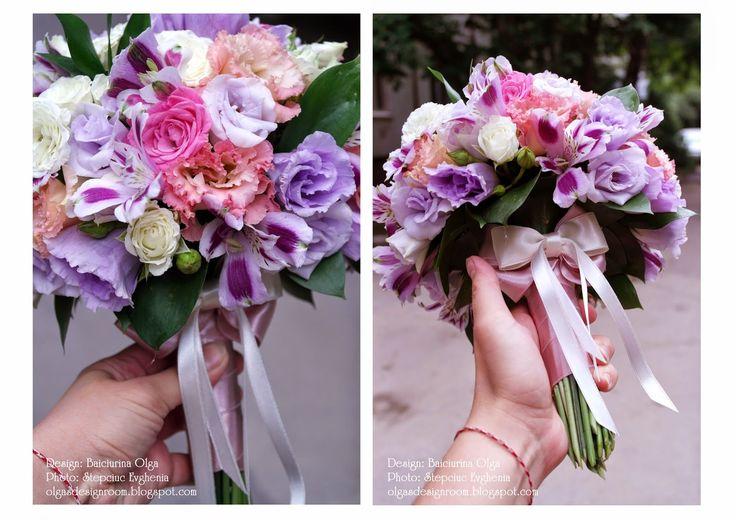 Baiciurina Olga's Design Room: Pink&Violet wedding bouquet-Розово-фиолетовый букет невесты.