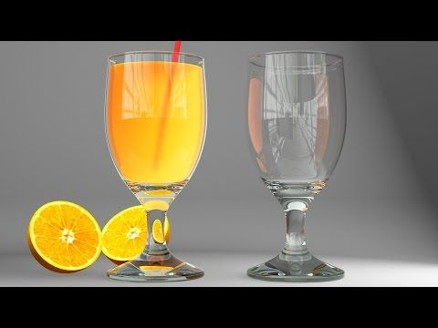 3ds max - vray realistic glass and juce, modeling, lighting and rendering - YouTube