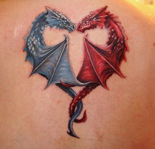 Blue-and-red-dragon-tattoos