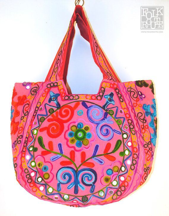 Gujarat Hand Embroidery Round Pink Tote Bag by FolkRoute on Etsy