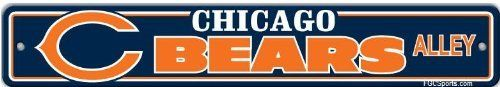 "Chicago Bears Plastic Street Sign ""Bears Alley"" by BSI. $7.25. This plastic sign is a great decoration for the rec room or basement bar! Features vibrant team colors and helmet logo, on a sturdy, die-cut plastic sign that will stand up to all kinds of wear and tear. Plastic construction means it can go indoors or out. Measures 4"" x 24"""