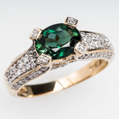 2 Carat Indicolite Tourmaline & VS Diamond Cocktail Ring 14K Gold