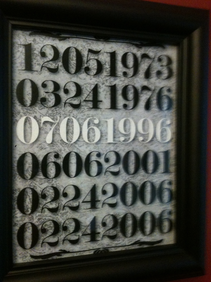 The numbers for our family- Jason also made this one and it is hanging in the kitchen as well.
