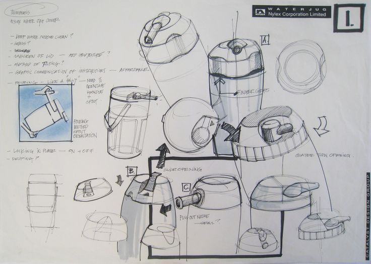 Art Element - FORM, and Line and shape Industrial Design in Victoria Australia: Concept sketches - Kate Bissett Johnson