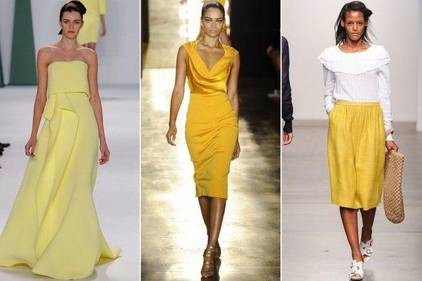 Желтый - тентенденции весна 2015, на фото модели A Detacher, Cushnie at Ochs и Carolina Herrera
