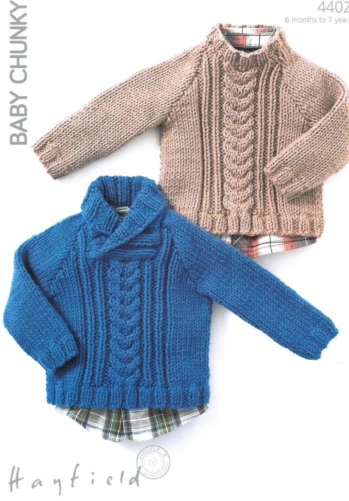 Baby knitted sweaters in Hayfield Baby Chunky