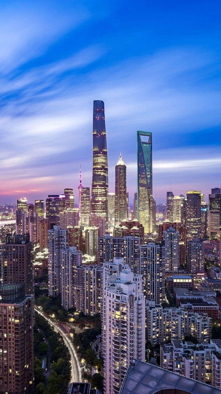 Shanghai China Shanghai Skyline City Lights At Night City Wallpaper