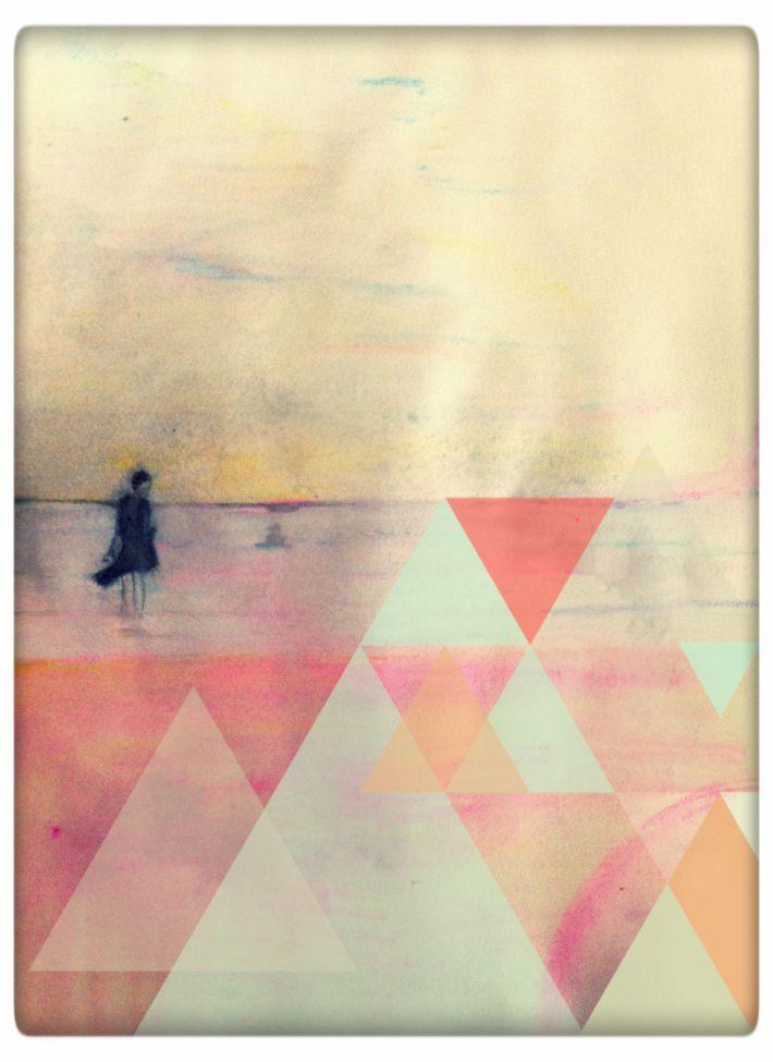 Tekening Het strand. Illustratie gemaakt door Grietje Drooglever, Illustration of a dreamy beach.