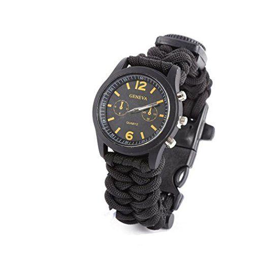 Outdoor Survival, Bluestercool Survival Bracelet With Watch Compass Flint Fire Starter Scraper Whistle Gear,Watch + Compass + Flint Buckle Bracelet Function--2.98 Check more at https://www.uksportsoutdoors.com/product/outdoor-survival-bluestercool-surviva