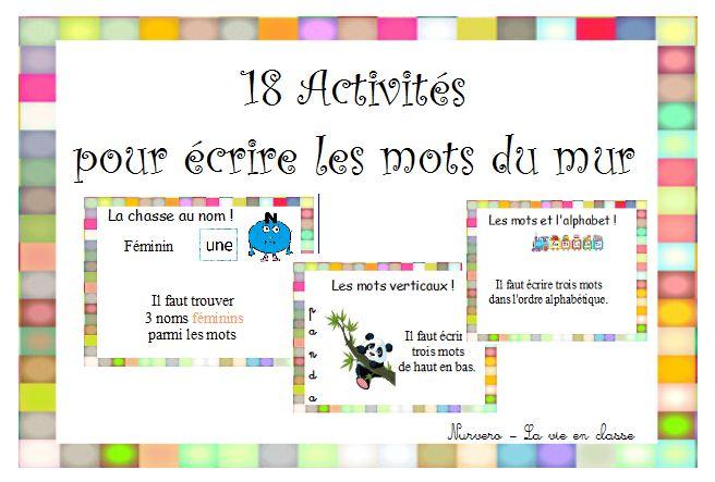 vocabulaire, lexique, GS, CP, CE1 mur de mots, centre de mots, activités