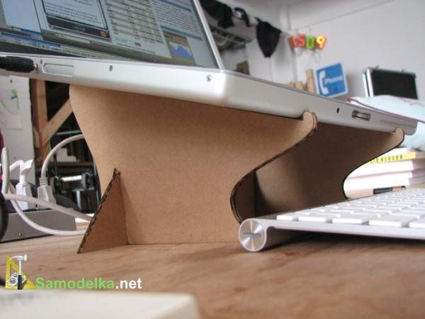Ультра-бюджетная раскладная подставка для ноутбука из картона