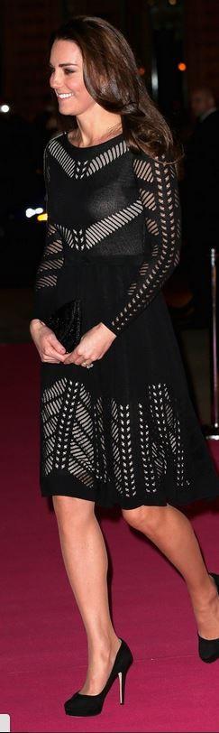 Kate Middleton in Temperley London dress and Jimmy Choo black platform suede pumps on October 23, 2014