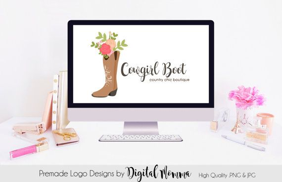 Premade Cowgirl Boots Logo Design Country Chic Floral Boots