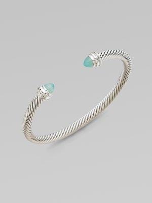 David Yurman Diamond Accented Aqua Chalcedony Cable Cuff Bracelet