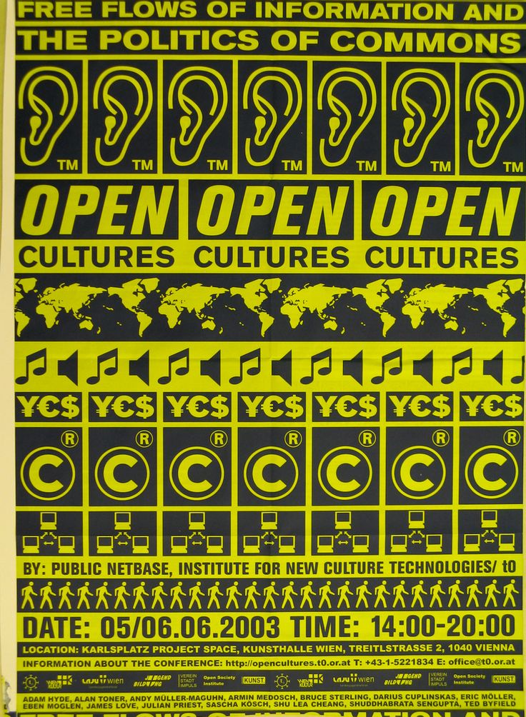 Flyer in black and yellow; horizontal registers of repeated signs and text, including: FREE FLOWS OF INFORMATION AND / THE POLITICS OF COMMONS; ears; OPEN / CULTURES; maps; musical note; dollar, yen, and euro sign; BY: PUBLIC NETBASE, INSTITUTE FOR NEW CULTURE TECHNOLOGIES; walking man; DATE: 05/06.06.2003 TIME: 14:00-20:00.