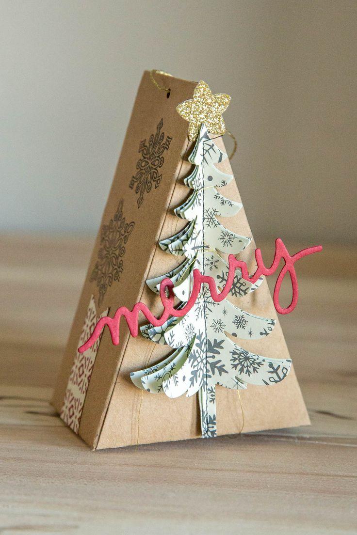 Cutie Pie die, Santas Sleigh, Christmas Greeting dies used to create ornament tree treat holder.  So Shelli - Shelli Gardner