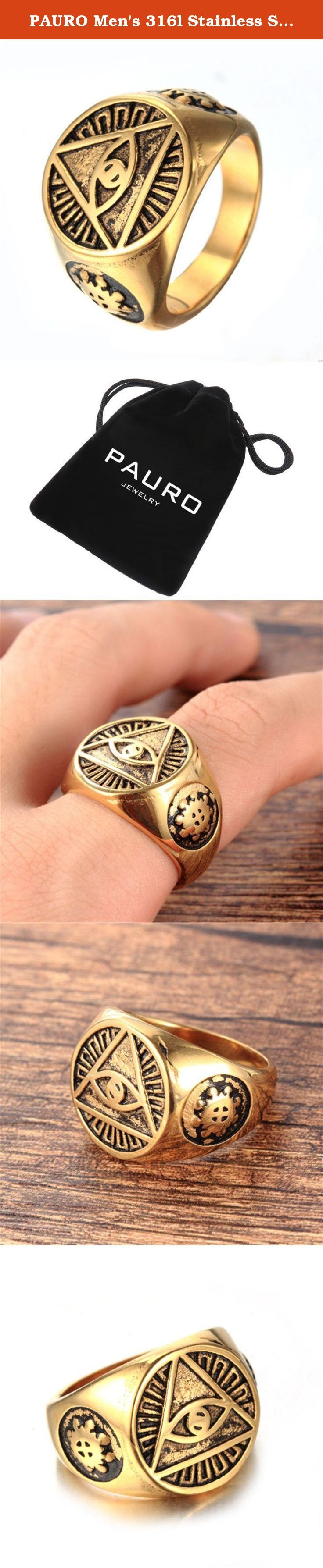 PAURO Men's 316l Stainless Steel All Seeing Triangle Eye of Providence Ring Gold Size 11. Why choose 316l stainless steel jewelry? 1. 316l stainless steel jewelry does not tarnish and oxidize, which can last longer than other jewelries. 2. It is able to endure a lot of wear and tear. 3. It is amazingly hypoallergenic. Such advantages make 316l stainless steel jewelry more popular nowadays. Got here a stainless steel ring that will last for many years. Warm tips: 1. Gently, avoid friction…