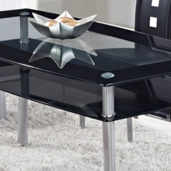 Global Furniture - Rectangular Black Glass Dining Table with Metal Legs - D1058NDT